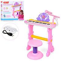 Детский синтезатор пианино 888-15А со стульчиком и микрофоном