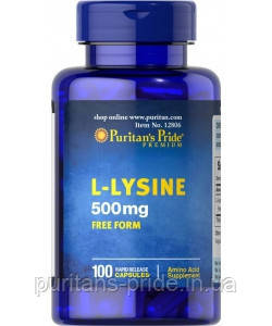 L-Лизин  Puritan's Pride L-Lysine 500 mg 100 Capsules