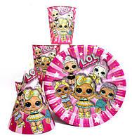 """Набор  малиновый """" Куклы L.O.L. (  ЛОЛ ) """" Тарелки -10 шт. Стаканчики - 10 шт. Колпачки -10 шт."""