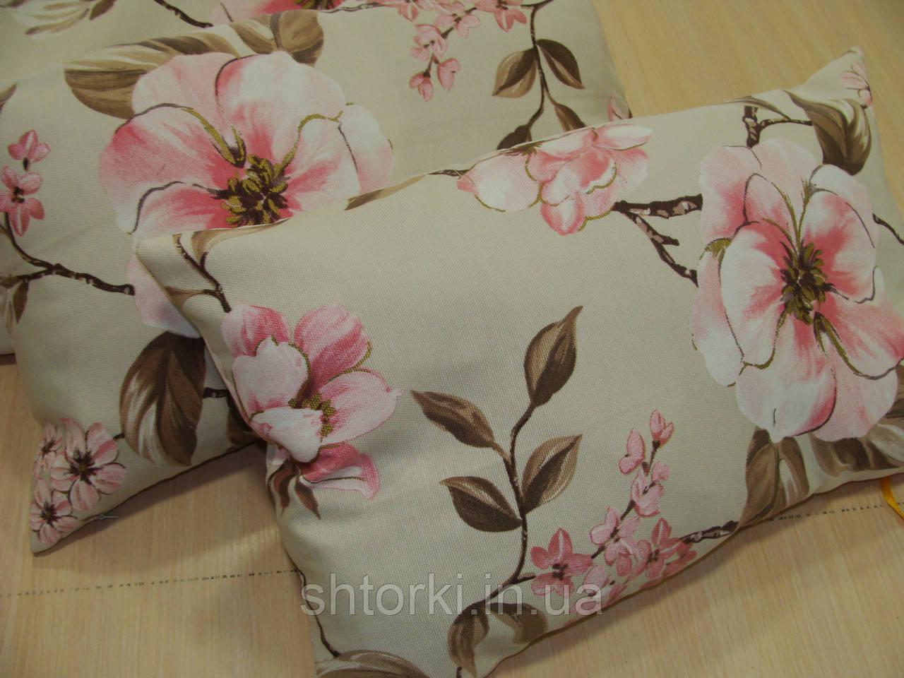 Комплект подушок беж Троянди, 4шт 50х30см