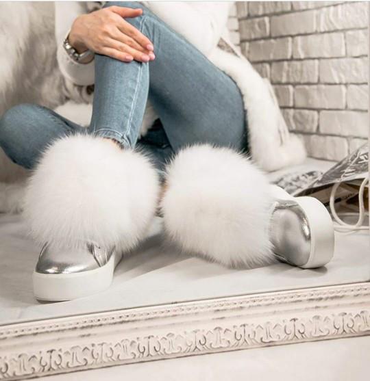 6f8c51e0a Зимние ботинки серебро с натуральным белым мехом ПЕСЦА натуральная кожа -  ГЛЯНЕЦ | Интернет-магазин