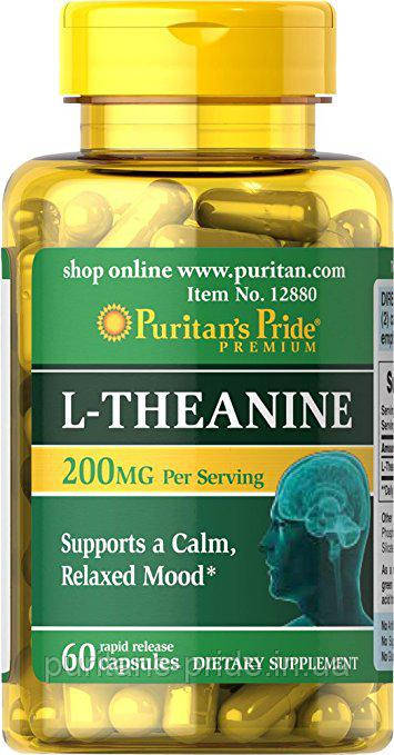 Л-теанин, Puritan's Pride L-Theanine 200 mg 60 Capsules