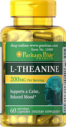 Л-теанин, Puritan's Pride L-Theanine 200 mg 60 Capsules, фото 2