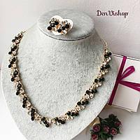 """Набор """"Кристи"""" серьги и ожерелье, тёмно-зелёный цвет., фото 1"""
