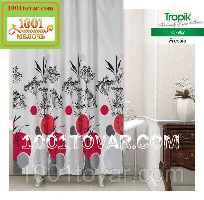 """Тканинна шторка для ванної кімнати з поліестеру """"Freesia"""" Tropik BS7982, розмір 180х200 див., Туреччина"""