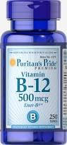 Вітамін В-12, Puritan's Pride Vitamin B-12 500 mcg 250 Tablets