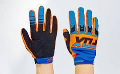 Кроссовые перчатки текстильные FOX BC-4827-3 (закр.пальцы, р-р M-XL, синий-оранжевый-черный)