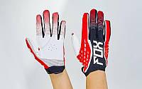 Кроссовые перчатки текстильные FOX BC-4829-1 (закр.пальцы, р-р M-XL, черный-красный-белый)