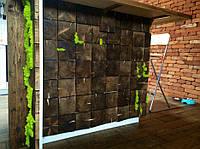 Оформление бар-стойки деревянными 3-Д панелями (размер 140/140мм) с вставками норвежского мха.
