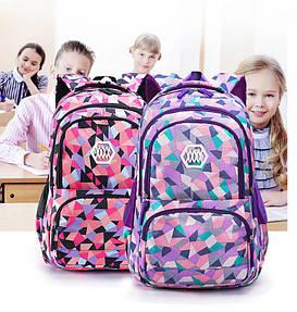 """Школьный рюкзак для девушек """"Crystal triangles"""" (2 размера 1-4-11 класс)"""