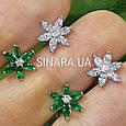 Серебряные серьги пуссеты гвоздики в виде цветочков, фото 4