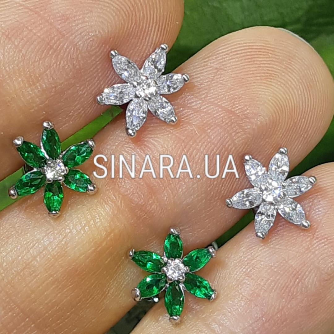 Серебряные серьги пуссеты гвоздики в виде цветочков