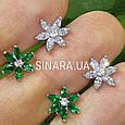 Серебряные серьги пуссеты гвоздики в виде цветочков, фото 3