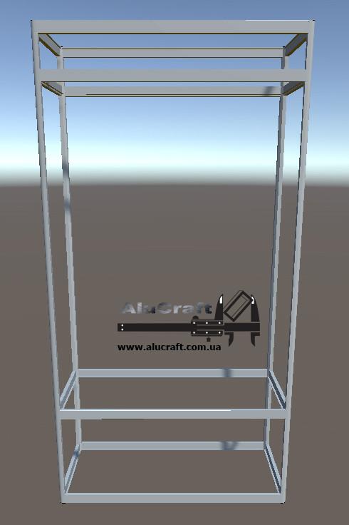 Стеллаж металлический   Конструктор из торговых профилей М-21