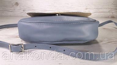 342 Натуральная кожа, Сумка кросс-боди, серо-синий, комбинированный, фото 2