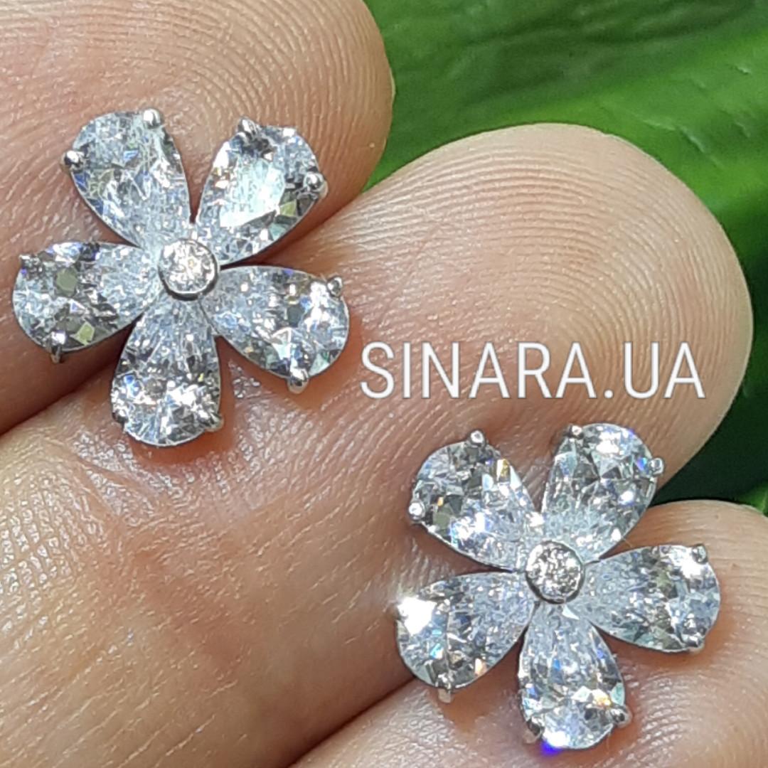 Серебряные серьги гвоздики - Серебряные пусеты - Серьги гвоздики серебро