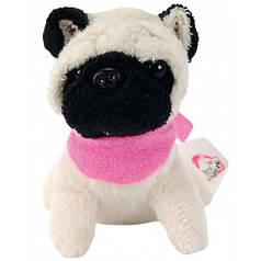 Мини-модница Мопс с черной мордочкой, собачка с повязкой, 10 см. Chi Chi Love 589 0208-3