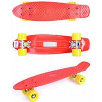 Скейт Пенни борд, 56 см, красный с желтыми колесами, GO Travel LS-P2206RYS