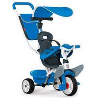 Детский велосипед Baby Balade, с козырьком, багажником и сумкой (синий), Smoby 741102