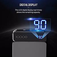 Внешний аккумулятор Power bank Rock P38 10000 mah with Digital Display Gray, фото 3