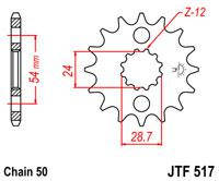 Мотозвезда JT передняя KAWASAKI ZZR 1400 / ZX-12R Ninja  JTF517.16