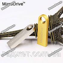 USB Flash Micro Drive  на 32 гб. Флеш накопитель светло серебряного цвета. Флешка., фото 2