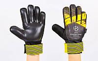 Перчатки вратарские с защитными вставками на пальцы FB-903-2 CHAMPIONS LEAGUE (PVC,р-р 7-10,жел-ч)