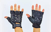 Перчатки спортивные многоцелевые с заклепками Zelart ZB-01049 (кожа, откр.пальцы, р-р L-XXL,черный)