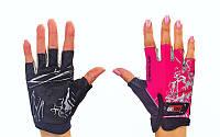 Перчатки спортивные SCOYCO BG08-P (PL, PVC, открытые пальцы, р-р S-M, розовый)