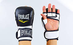 Перчатки гибридные для единоборств ММА PU ELAST BO-4612-BKW (р-р S-XL, черный-белый)