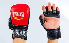 Перчатки гибридные для единоборств ММА PU ELAST BO-4612-RBK (р-р S-XL, красный-черный)