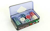 Фишки для покера в металлической коробке IG-1102110 (100 фишек с номиналом)