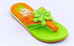 Вьетнамки для девочек KITO EC4003-GREEN-MIX (EVA, р-р RUS-31-35, салатовый-оранжевый)
