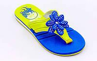 Вьетнамки для девочек KITO EC4003-D.BLUE-MIX (EVA, р-р RUS-31-35, синий-желтый)
