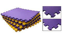 Коврик-мат пазл набор 6шт 48,5x48,5x1см Пенополиэтилен UR C-5068 (площадь 1уп.-1,4м2, фиол-жел)