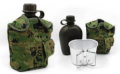 Фляга с котелком V-1л в чехле TY-4834-2 (пластик, чехол пиксель MARPAT)