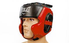 Шлем боксерский в мексиканском стиле кожаный ELAST BO-5241-R (красный, р-р M-XL)