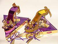 """Новогодняя туфелька из конфет""""Фиолетовый трюфель"""""""