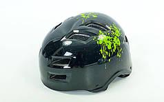 Шлем для ВМХ,Skating,Freestyle и экстремального спорта MTV01-B форма Котелок (ABS,L-58-61,черный)