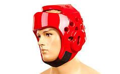 Шлем для тхэквондо PU BO-2018-R WTF (красный, р-р S-XL)