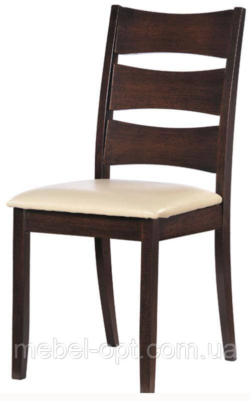 Деревянный стул Белла с мягким сиденьем, кожзам крем, каркас темный орех