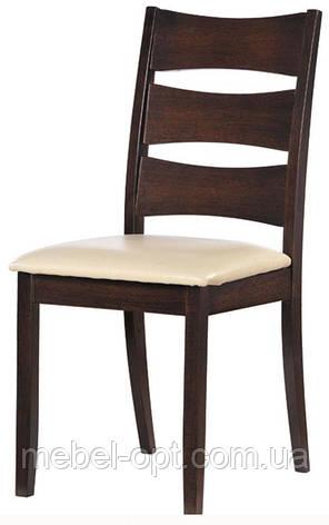 Деревянный стул Белла с мягким сиденьем, кожзам крем, каркас темный орех, фото 2