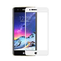 3D защитное стекло для LG K10 2017 M250 (на весь экран) Белый