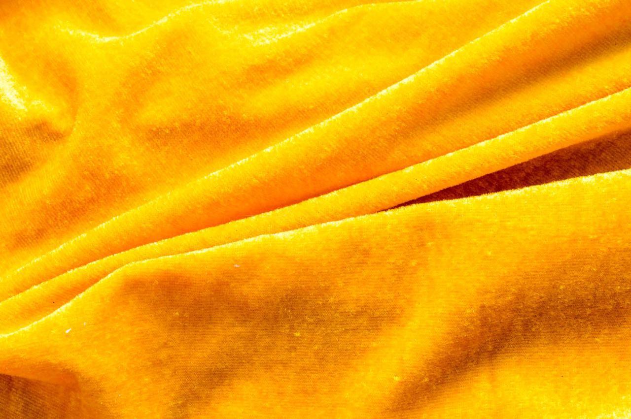 Ткань трикотажная Велюр, Х/Б, 95% на 5%. Пенье, цвет - Желтый, в наличии, купить в Украине