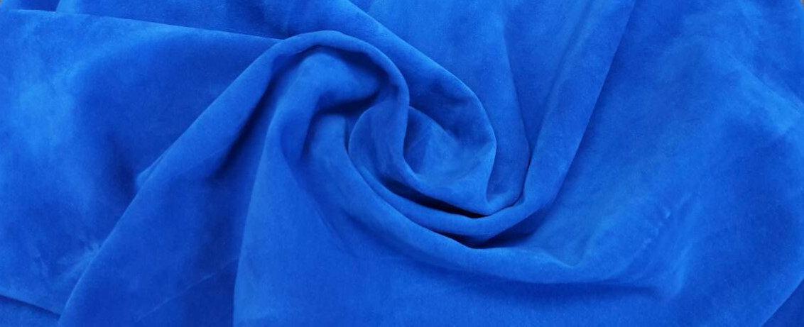 Ткань трикотажная Велюр, Х/Б, 95% на 5%. Пенье, цвет - Синий, в наличии, купить в Украине