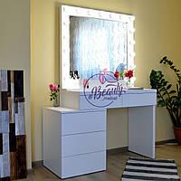 Столик для макияжа с тумбой, стол визажиста с зеркалом и подсветкой
