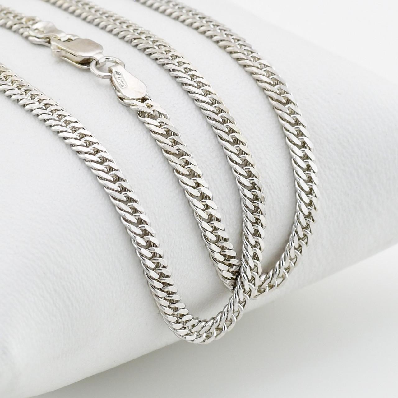 """Серебряная цепочка """"Двойная панцирная"""", ширина 3 мм, вес серебра 11.48 г, длина 55 см"""