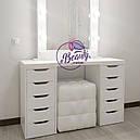 Гримерный стол с большим количеством ящиков, макияжный столик с подсветкой, фото 2