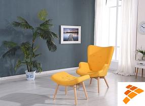 Кресло Флорино с оттоманкой жёлтый (СДМ мебель-ТМ)