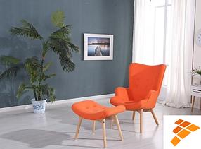 Кресло Флорино с оттоманкой оранжевый (СДМ мебель-ТМ)